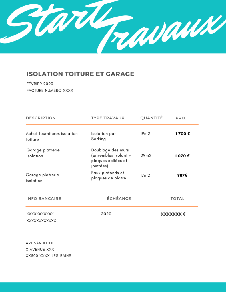 Exemple devis travaux isolation toiture garage