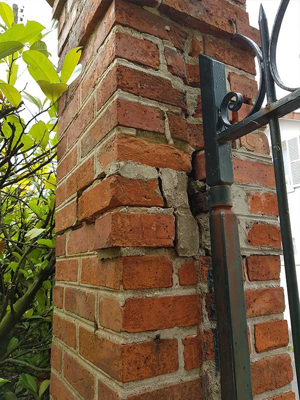 réparation fissure sur pilier en brique de portail Soustons 40