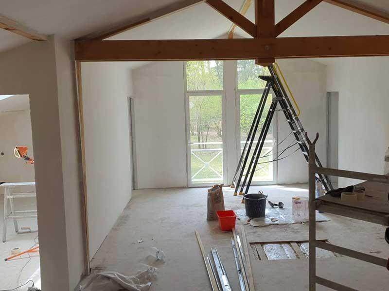 création de chambres dans les combles maison à Saubion 40